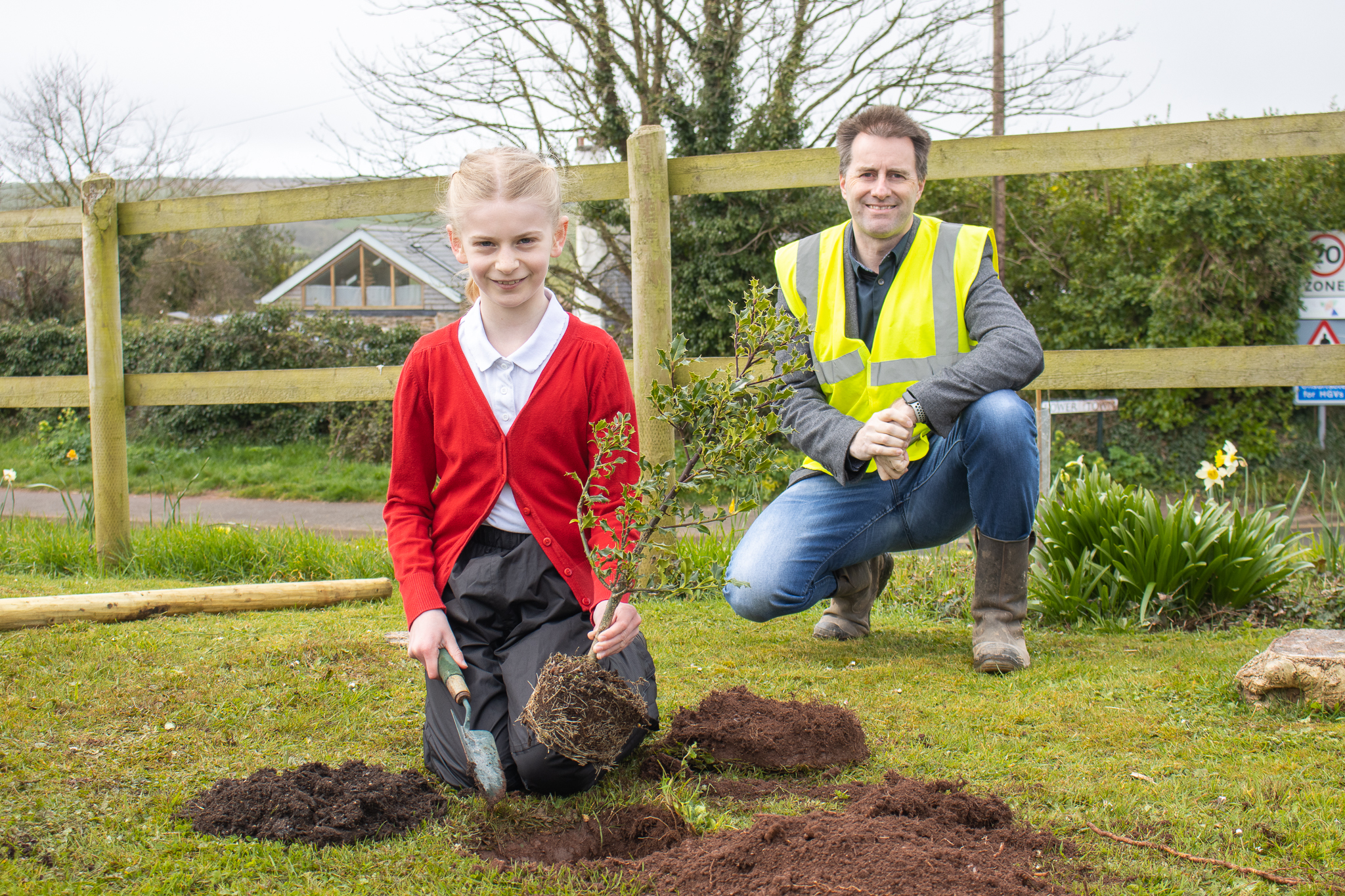 Pupils' green fingers put to the test with tree planting at village hall in Malborough